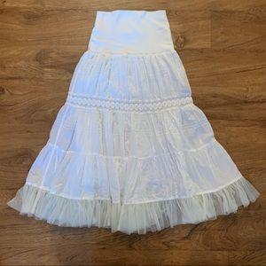 CHARLOTTE RUSSE White Gypsy Boho Lace Skirt XS LN